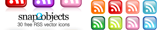 30 colored vectorial RSS icons