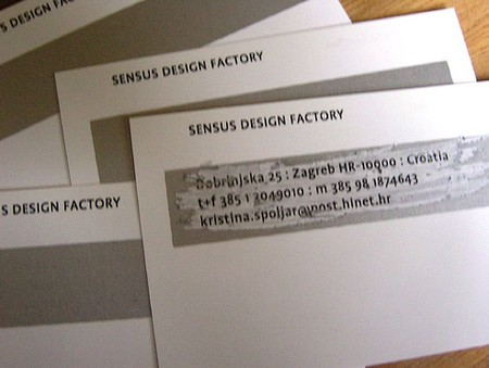 Sensus Design Factory front business cards design