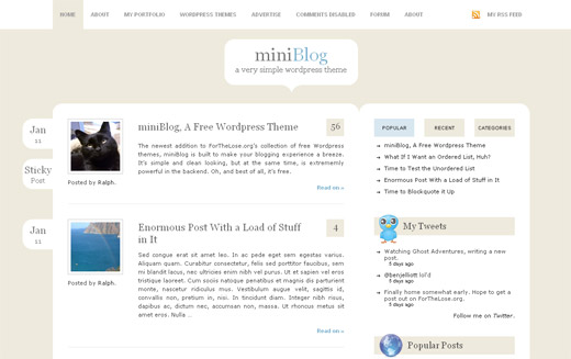 miniBlog Free WordPress Theme