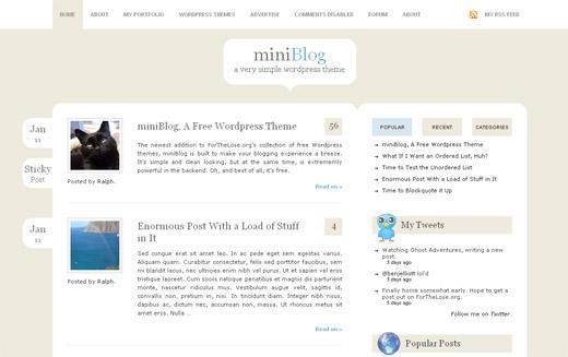 miniBlog Free WordPress Theme