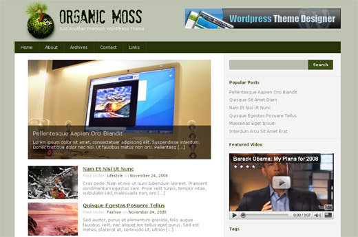 Organic Moss - Free WordPress Theme