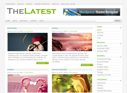 The Latest Free WordPress Theme