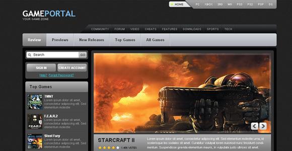 Free Gaming Portal Template