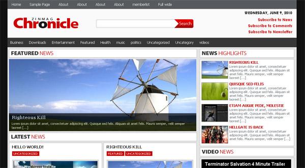 Chronicle Magazine Style Premium Wordpress Theme