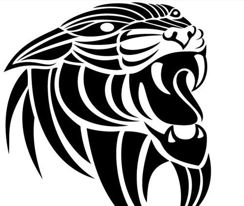 roaring lion in black