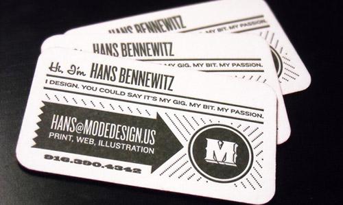 mode design business card