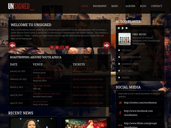 Unsigned Music WordPress Themes