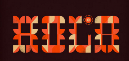 stylized words in orange