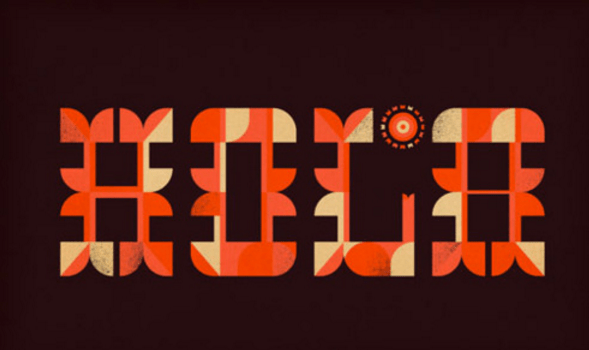 stylized words in orange