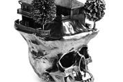 silver skull sculpture