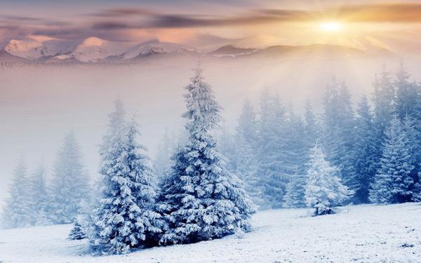 sunset snow landscape