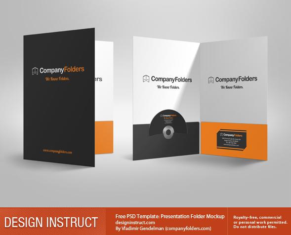 free 3d presentation folder psd mockup, Presentation templates