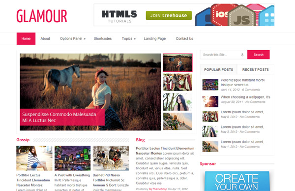 Glamour WordPress Theme