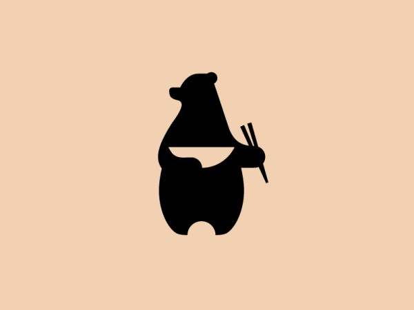 bear with noodles and chopsticks