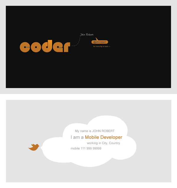 Coder business card template