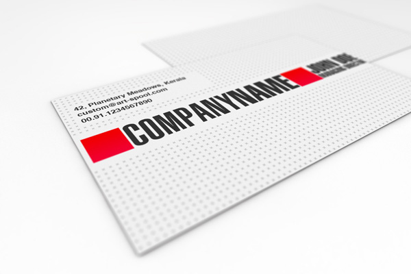 Minimal white and red business card template