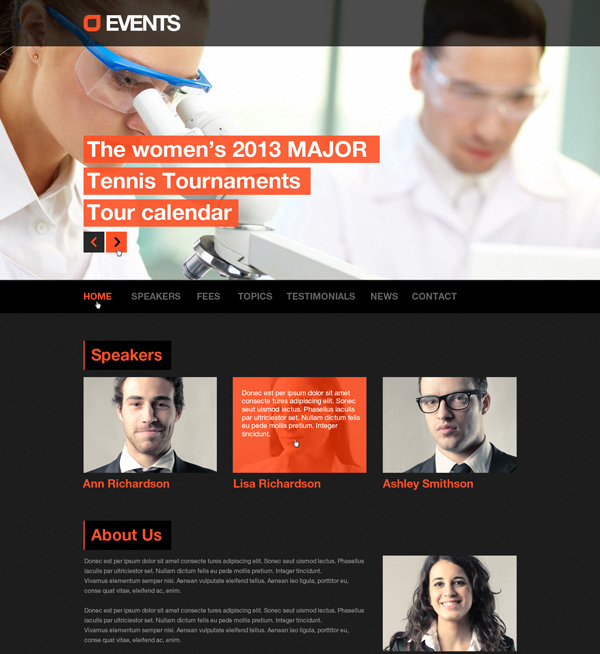 Events, Music, Sport, Techno HTML5/CSS3