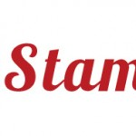 Stamplia text in red