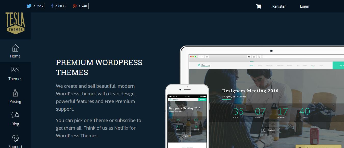 Tesla Themes homepage