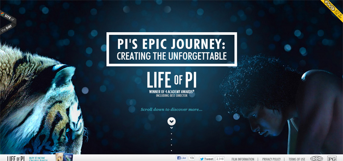 10 inspiring parallax scrolling websites examples of 2013 for Life of pi name