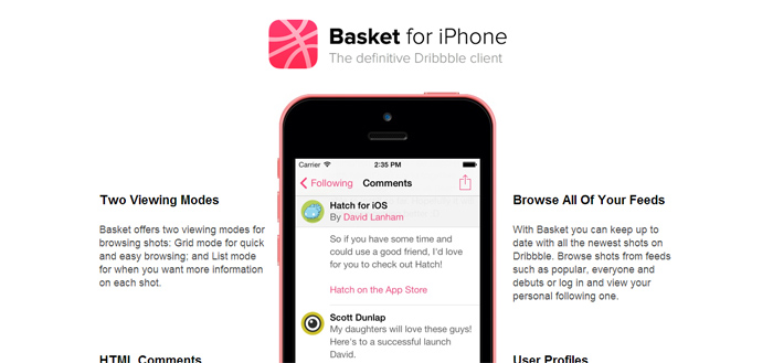 Basket for iPhone