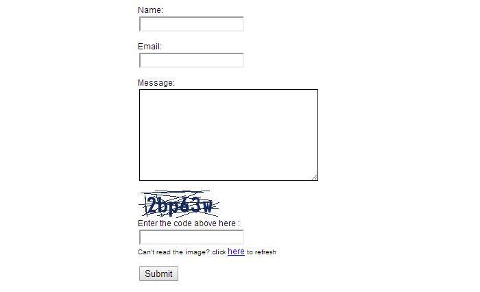 HTML contact form with CAPTCHA