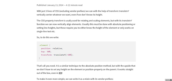 Vertical align anything with just 3 lines of CSS