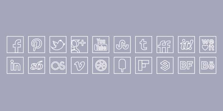 social_media_icons_white_line_icons_set