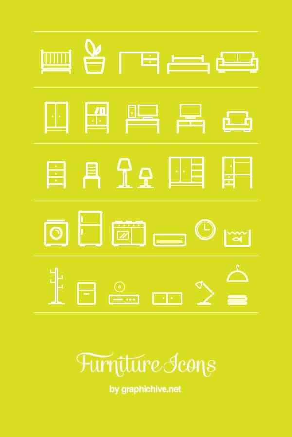 30 Minimalist Furniture Icon Set