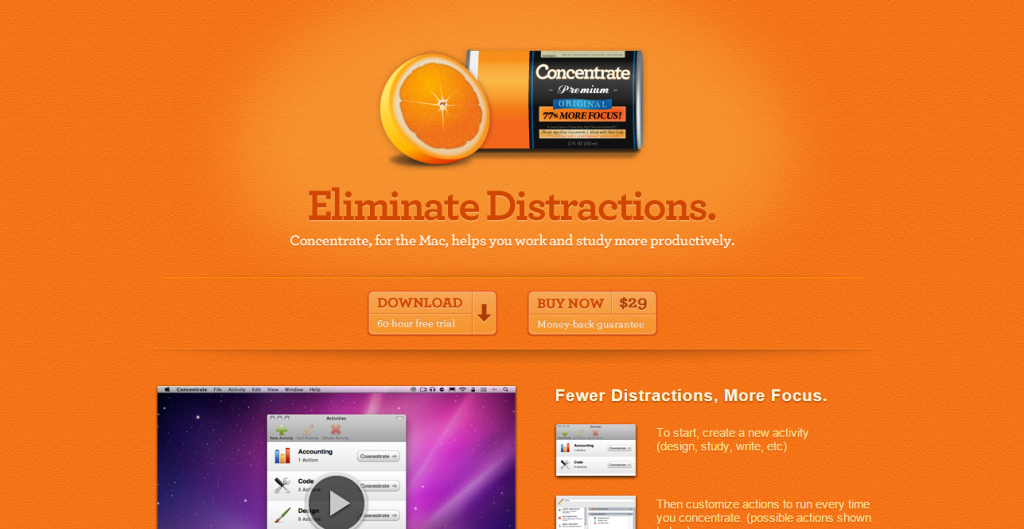designers roundup Concentrate    Eliminate distractions to work and study more productively