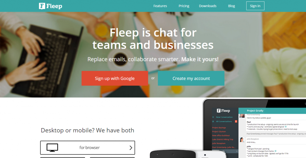 designers roundup Fleep  Group chat for teams and businesses