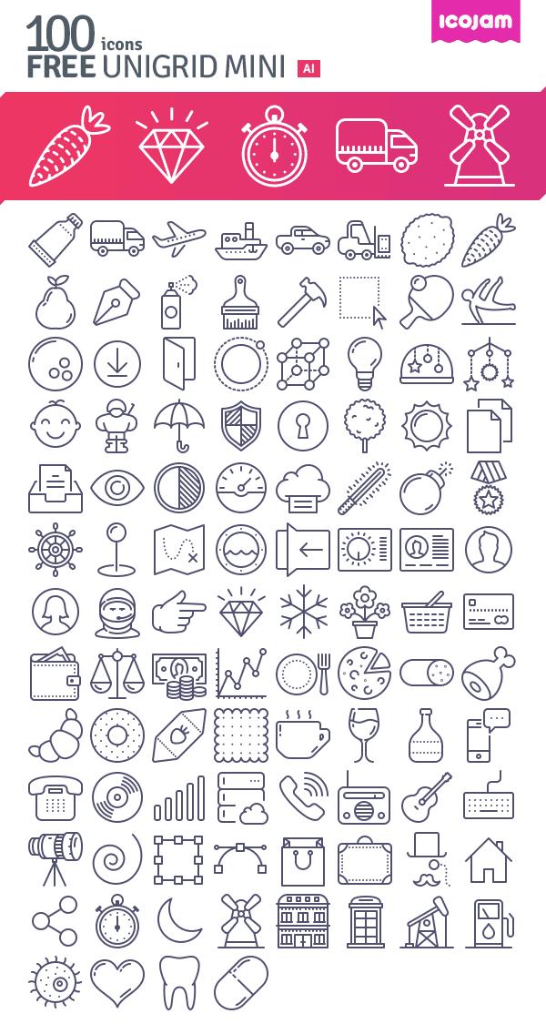 ico jam-100 unigrid icons