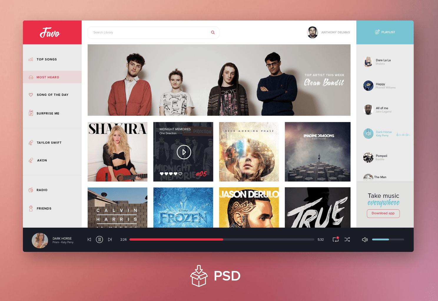 daily freebie music dashboard psd