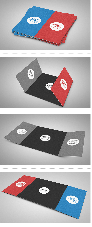 Freebie Square TriFold Gate Brochure Mock up – Gate Fold Brochure Mockup