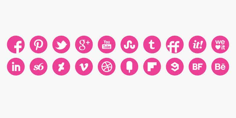 daily freebie pink round social media icons