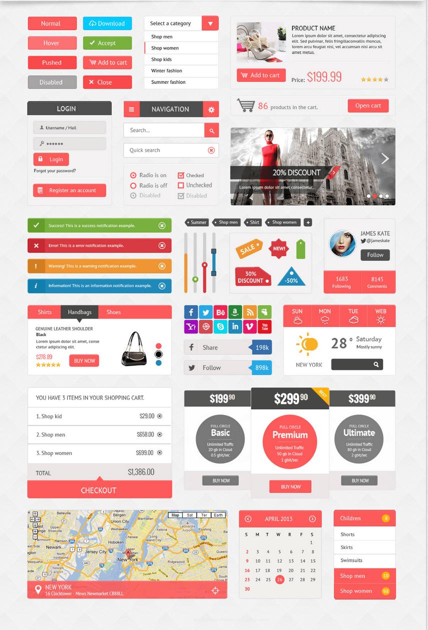 Daily Freebie: Huge Ecommerce and Shopping UI Kit