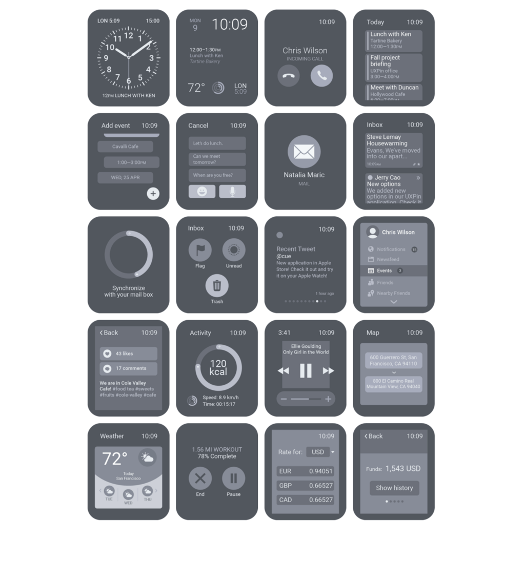 30 Apple Watch Wireframing UI screens & elements