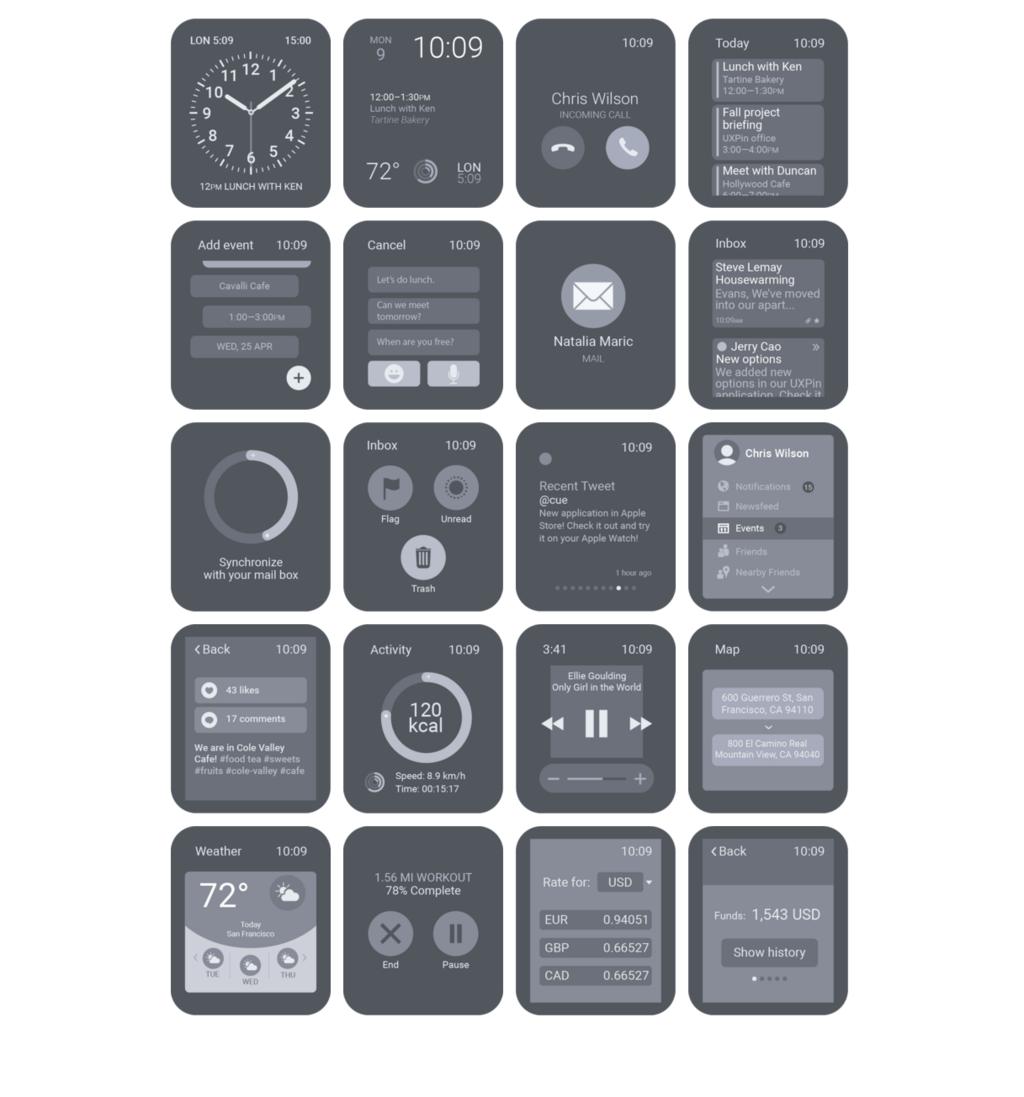 Freebie: 30 Apple Watch Wireframing UI screens & elements