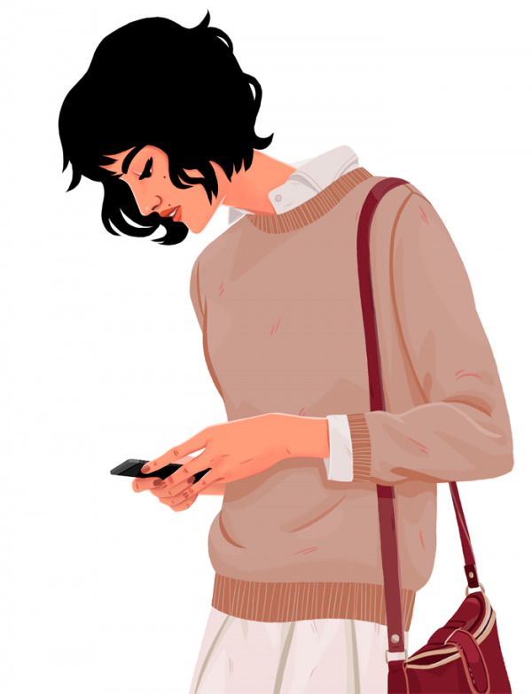 illustration of girl with phone