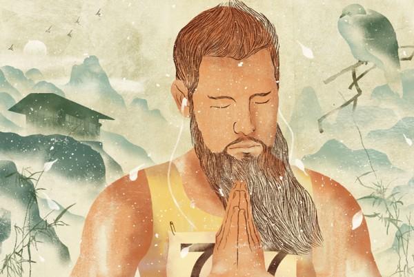 a praying runner