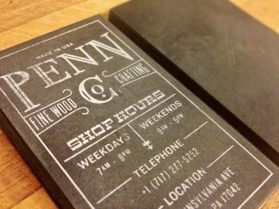 penn fine wood biz card