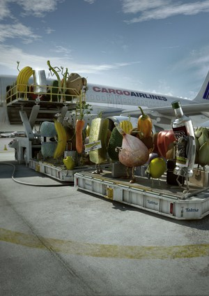 fruits boarding an airplane