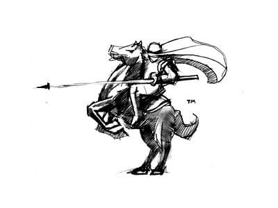 Knight riding bucking horse