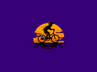 Purple sunset with bicycle