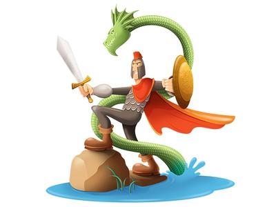 Knight fighting dragon logo