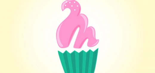 Pink frosted cupcake design