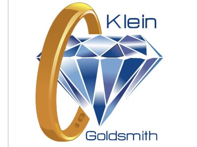 Gold ring and diamond logo
