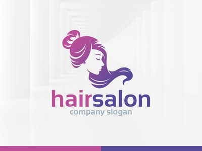 Flowing hair salon logo