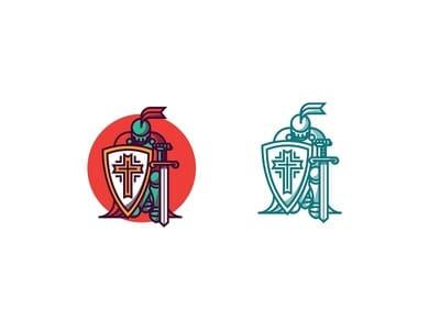 Kneeling knight logo