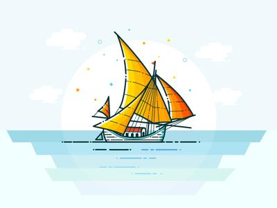 Orange sailboat logo